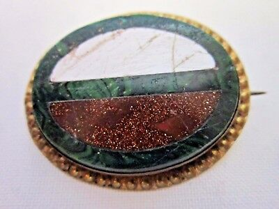 Antique victorian jewellery gold plated brooch in malachite with inlaid stones