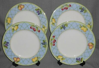Set (4) Mikasa Optima FRUIT RAPTURE PATTERN Dinner Plates