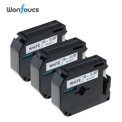 3 PK M-K221 9mm Black on White Label Tape Compatible for Brother P-Touch PT65