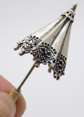 Vintage Solid Silver Italian Made Parasol Umbrella Miniature, Figurine, Stamped