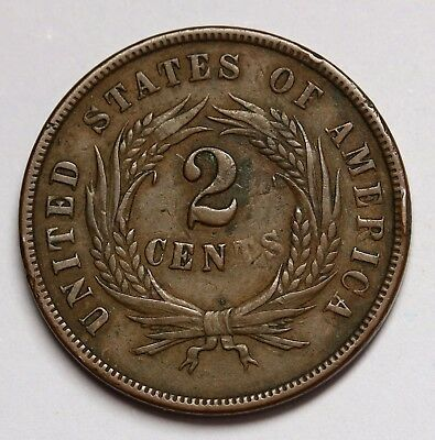 1864 US 2 Cents Union Shield Bronze Coin KM# 94
