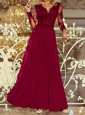 Long Burgundy Bridesmaid Party Prom Evening Wedding Christmas Party Dress Gown