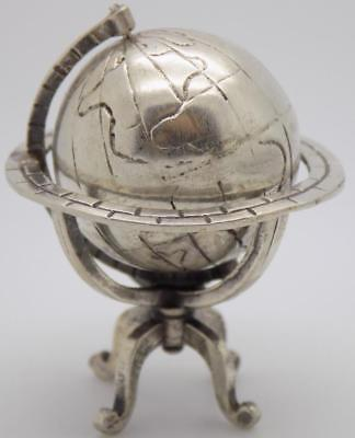 Vintage Solid Silver Italian Made Spinning Globe Miniature, Figurine, Stamped