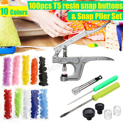 100Pcs Set T5 Plastic Snaps Fastener Buttons Snap Pliers Press Stud Sewing Tool
