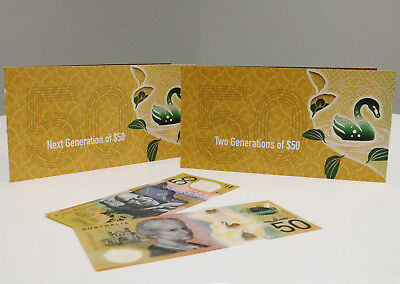 2018 & 2016 TWO GENERATIONS OF $50 RBA FOLDER x 2 UNC Banknotes Spelling Typo