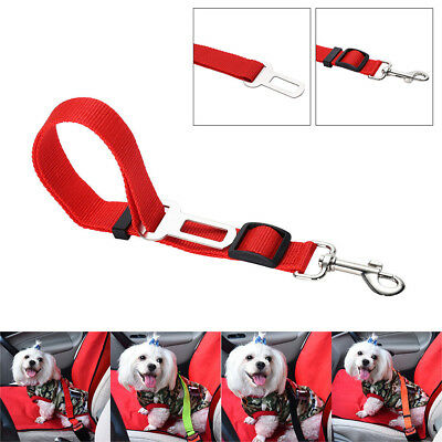 Pet Dog Car Vehicle Travel Safety Seat Belts Adjust Harness Restraint Clip Red