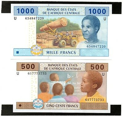 CENTRAL AFRICAN STATES 1000 & 500 Francs 2002 x 2 UNC Banknotes