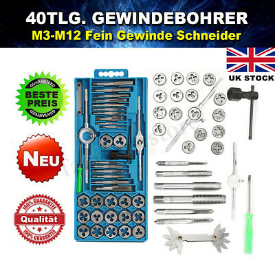 40Pcs Metric Tap Wrench and Die Pro Set M3-M12 Nut Bolt Alloy Metal Hand