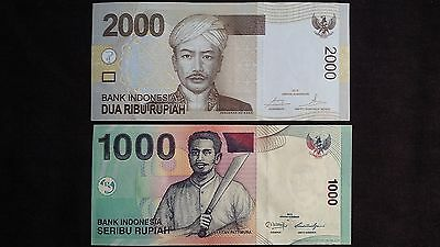 INDONESIA 2000 & 1000 Rupiah 2 x UNC Banknotes