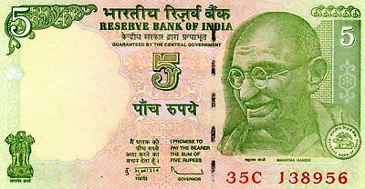 INDIA 5 Rupees 2009 P88Ae Letter L Sign. 89 aUNC Banknote