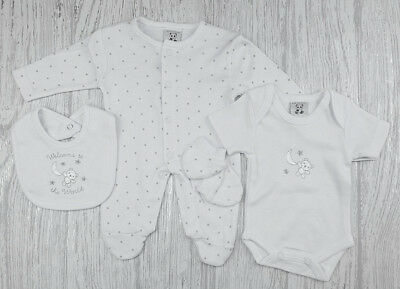 Premature  Tiny baby clothes Layette Sleepsuit Vest Mitts white 3-5lbs 5-8lbs