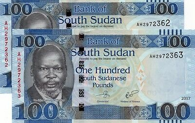 SOUTH SUDAN 100 Pounds 2017 P NEW 2 x Consecutive UNC Banknotes