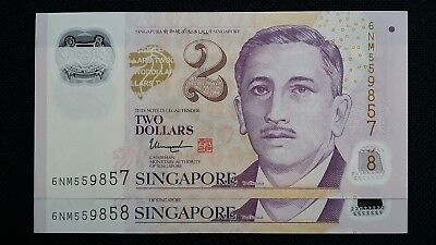 SINGAPORE $2 Dollars ND 2016 P46h 1 Hollow Star x 2 Consecutive UNC Banknotes