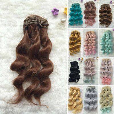 15cm Long Colorful Curly Wave Doll Wigs Synthetic Hair For 1/3 1/4 1/6 BJD Dolls