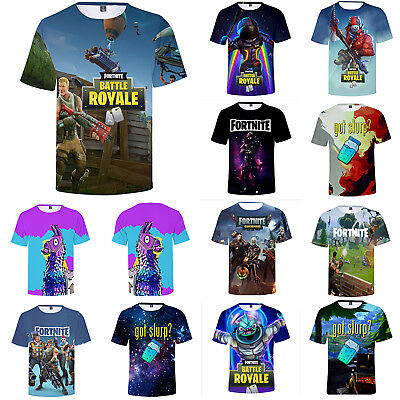 Unisex Mens Boys Fortnite Battle Royale Game 3D Summer Casual Loose T Shirt Tops