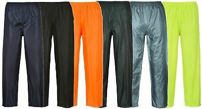 Hi Visibility Waterproof Rain Over Trousers Work Casual Mens Elasticated Pants