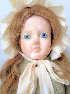 """32"""" Antique Wax Head Doll with Blue Glass Eyes Old Clothes Dress Victorian 1800s"""