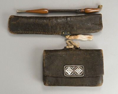 19thC JAPANESE SAMURAI TOBACCO POUCH KISERU antique smorking pipe portable case