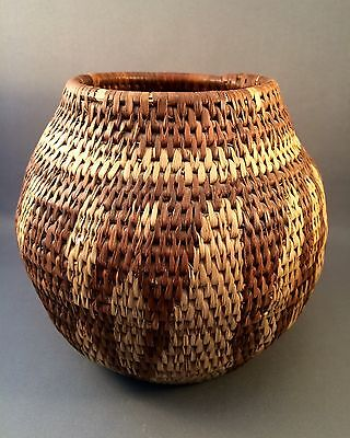 Early Vintage Handwoven Free-Form Design African Zulu Herb Storage Basket