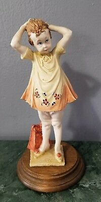 Vintage Giuseppe Armani Signed and Stamped Girl will Ponytail Figurine 8""
