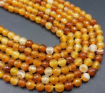 6mm Natural Orange Yellow Agate Onyx Gems Faceted Round Loose Bead 15'' AAA