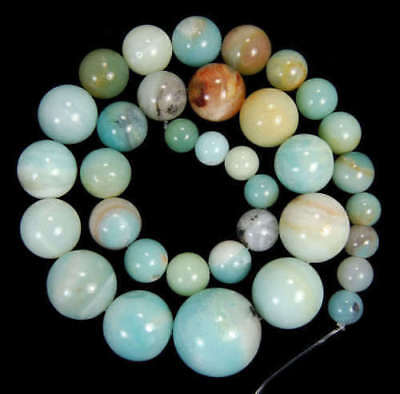 Natural 6-16mm Colorful Amazonite Round Beads Gemstone Necklace 18''