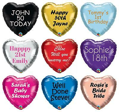 "Personalised Foil Balloon Heart 18"" Message Name Birthday Party Decorations Age"