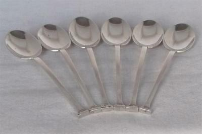A Fine Set Of Six Solid Sterling Silver Seal End Coffee Spoons Sheffield 1932.
