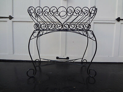 Vtg Garden Patio Deck Black Wrought Iron Urn Tub Pot Basket Planter Plant Stand