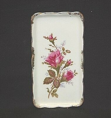 Old Vintage Miniature Serving Tray w Rose Pattern & Gold Trim Made In Japan