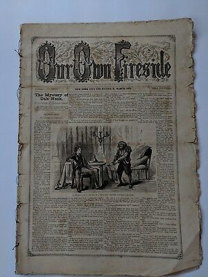 Our Own Fireside Antique Newspaper March 1872 Illustrated Stories Fashion