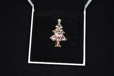 Swarovski Signed Christmas Tree Pin/Brooch Gold Hearts with white and red stones