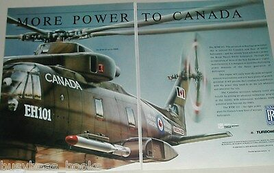 1990 Rolls Royce 2-page advertisement, RTM 322 engine, EH101 helicopter Canadian