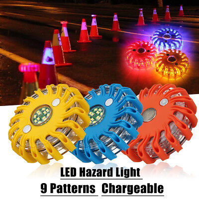 Rechargeable 16LED Magnetic Emergency Hazard Warning Road Light 9 in 1 Strobe