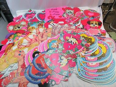 Vintage Beistle Gibson Valentines Day Decorations Cardboard Cutouts Lot Of 136