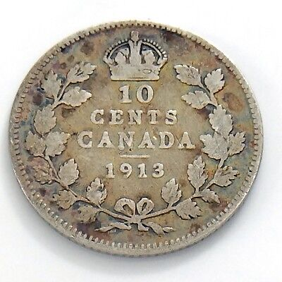 1913 Canada Ten 10 Cent Silver Dime Circulated Canadian George V Coin H973