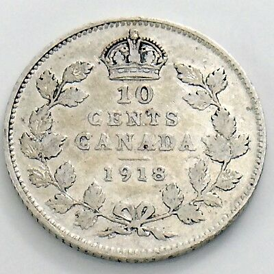 1918 Canada Ten 10 Cent Silver Dime Circulated Canadian George V Coin H975