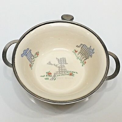 Excello Boy Blue Baby Warming Dish Porcelain & Stainless, Handles Vintage