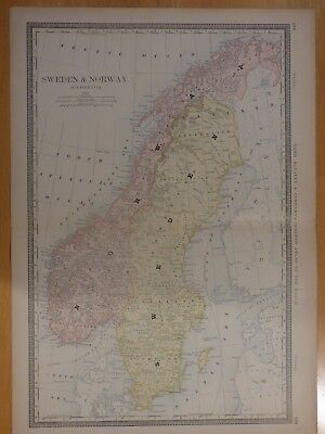 1882 Rand McNally atlas map of Norway and Sweden, Stockholm, geographical index