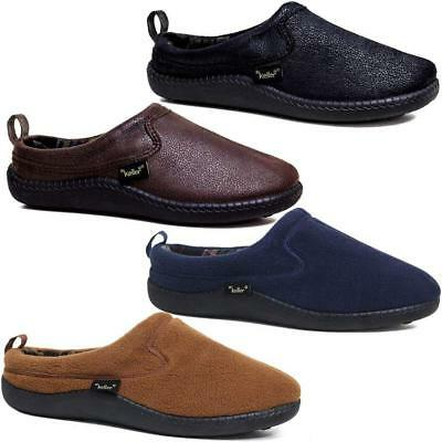 Mens Slippers Slip On Faux Leather Sheepskin Warm Fleece Lined Clog Indoor Shoes