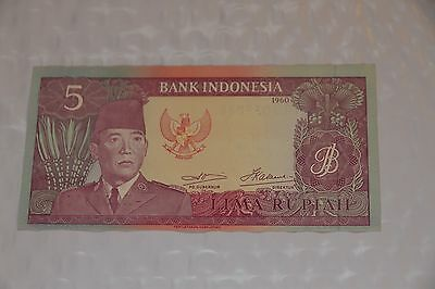 Indonesia P-82b 5 Rupiah 1960 (1964) Replacement Note!  Unc