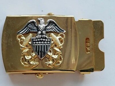 Us Navy Gold Belt Buckle With Oxydic High Relief Emblem Original Military Issue