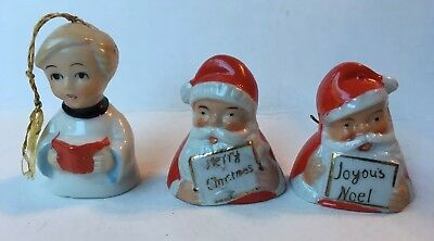 Lot of 3-Vintage Japan Porcelain Santa Claus & Choir Boy Bell Christmas Ornament