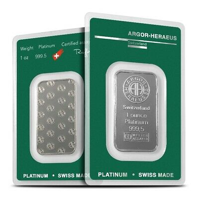 1 oz .9995 Fine Argor-Heraeus Platinum Bar/Ingot - Brand New In Assay Card