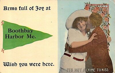 """Arms Full of Joy"" at Boothbay Harbor Maine~1913 Pennant Postcard"