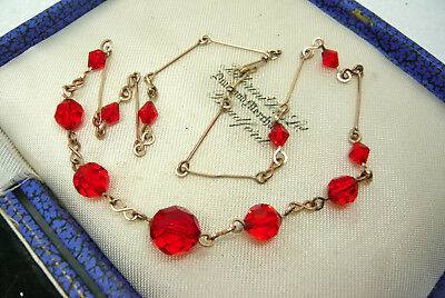 Vintage Jewellery Art Deco Red Glass Necklace