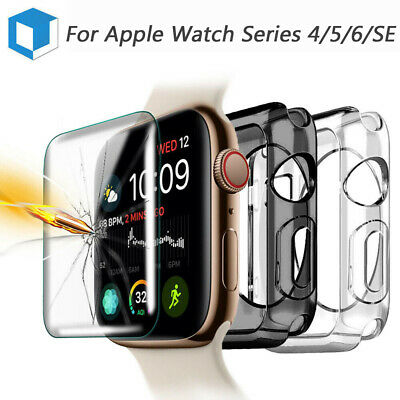 Fr Apple Watch Series 4 Soft Bumper Protective Case +Tempered Glass Screen Cover