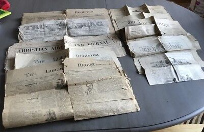 Lot Of 10 Antique Newspapers 1853-1890 Liberty, Livingston Manor, NY, And Others