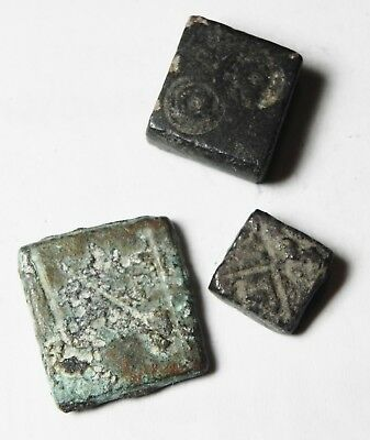 Zurqieh - As9933- Ancient Holy Land. 3 Bronze Weights. Roman / Byzantine. 300 -