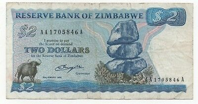 Zimbabwe 2 Dollars 1980 Pick 13 Look Scans